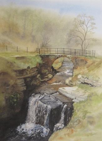 Lumb Falls near Hebden Bridge, watercolour print by Kevin Brown