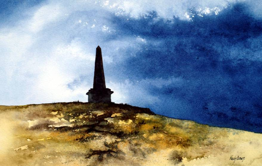 Studley Pike above Hebden Bridge, watercolour print by Kevin Brown