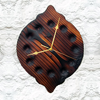 handcrafted wooden clock bygone