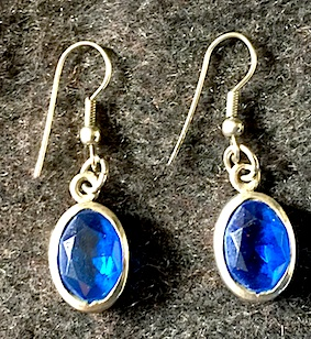 Blue Glass Ear Rings