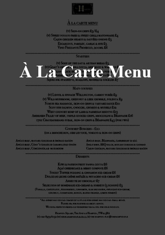 new a la carte menu