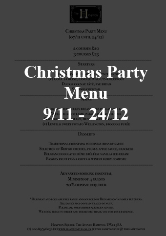 christmas party menu