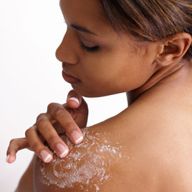 young woman exfoliation treatment