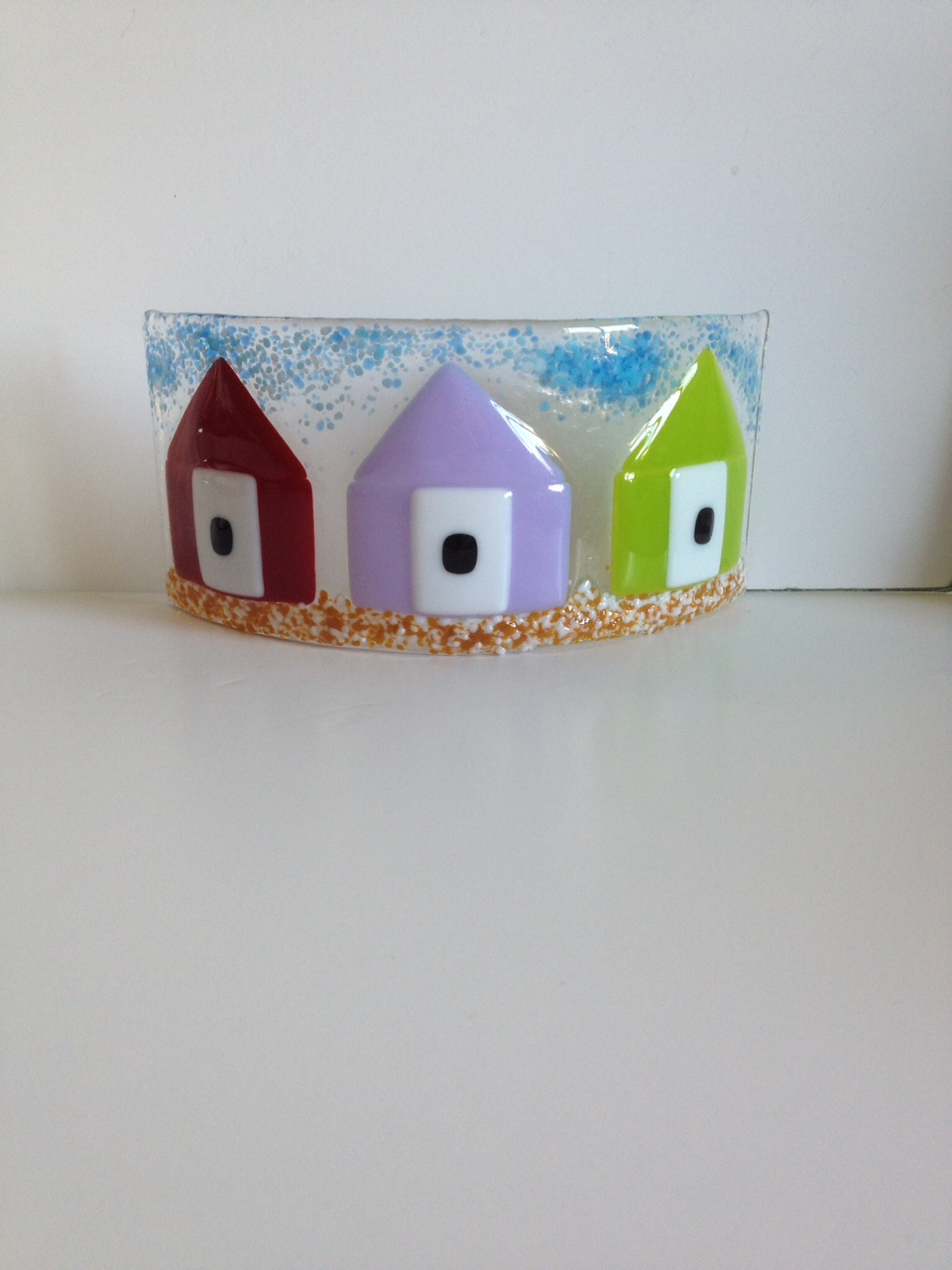 Row of beach huts curved fused glass table clock - Row Of Beach Huts Curved Fused Glass Table Clock