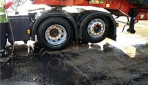 cleaning wheels on a truck