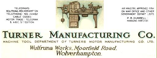 Turner Manufacturing Company machine tool advert