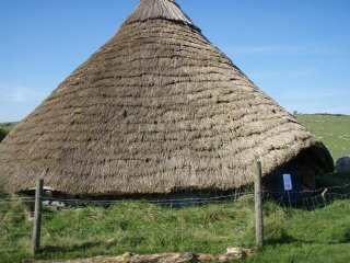 A reconstructed Bronze Age round house at Trewortha Farm, Bodmin Moor