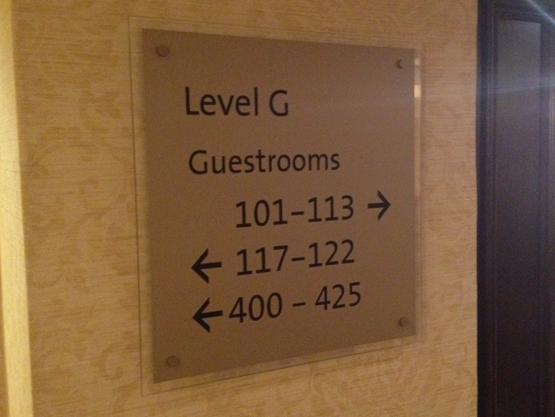 Directional signage at Hilton