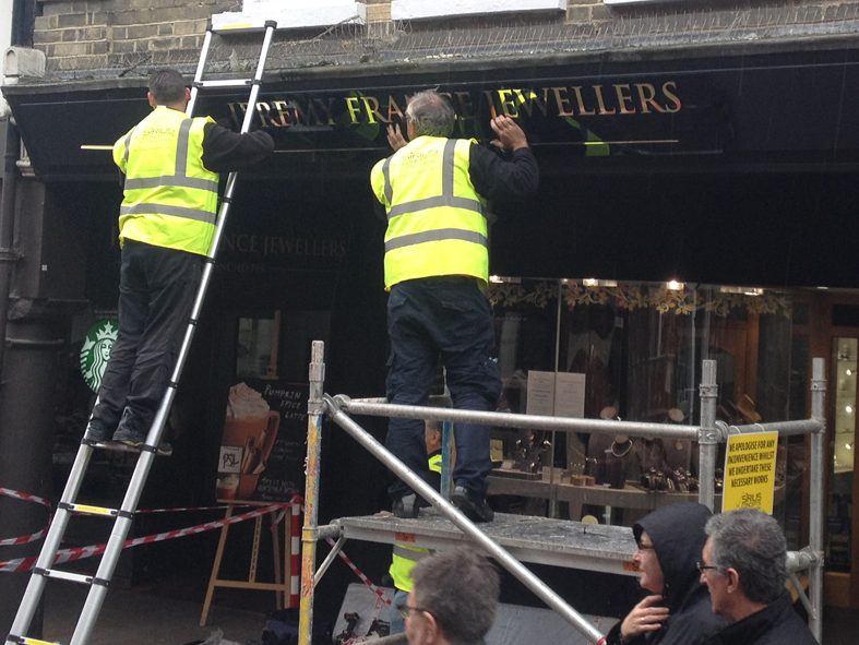 Signage installation at Jeremy France Jewellers