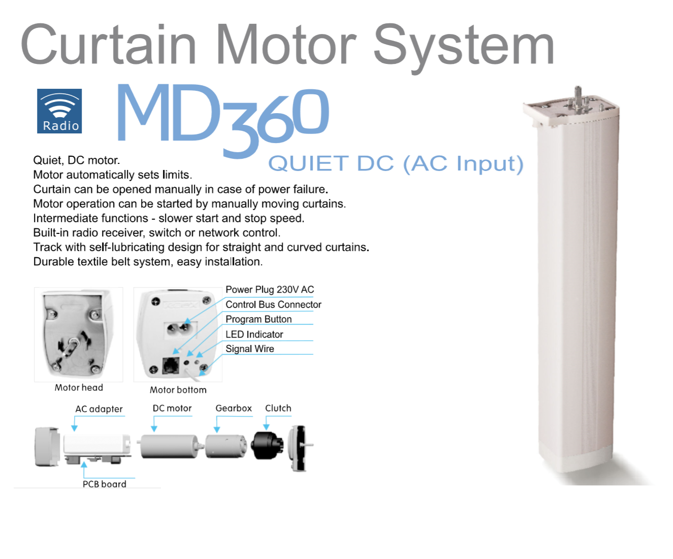 Electric Curtains Specification MD360