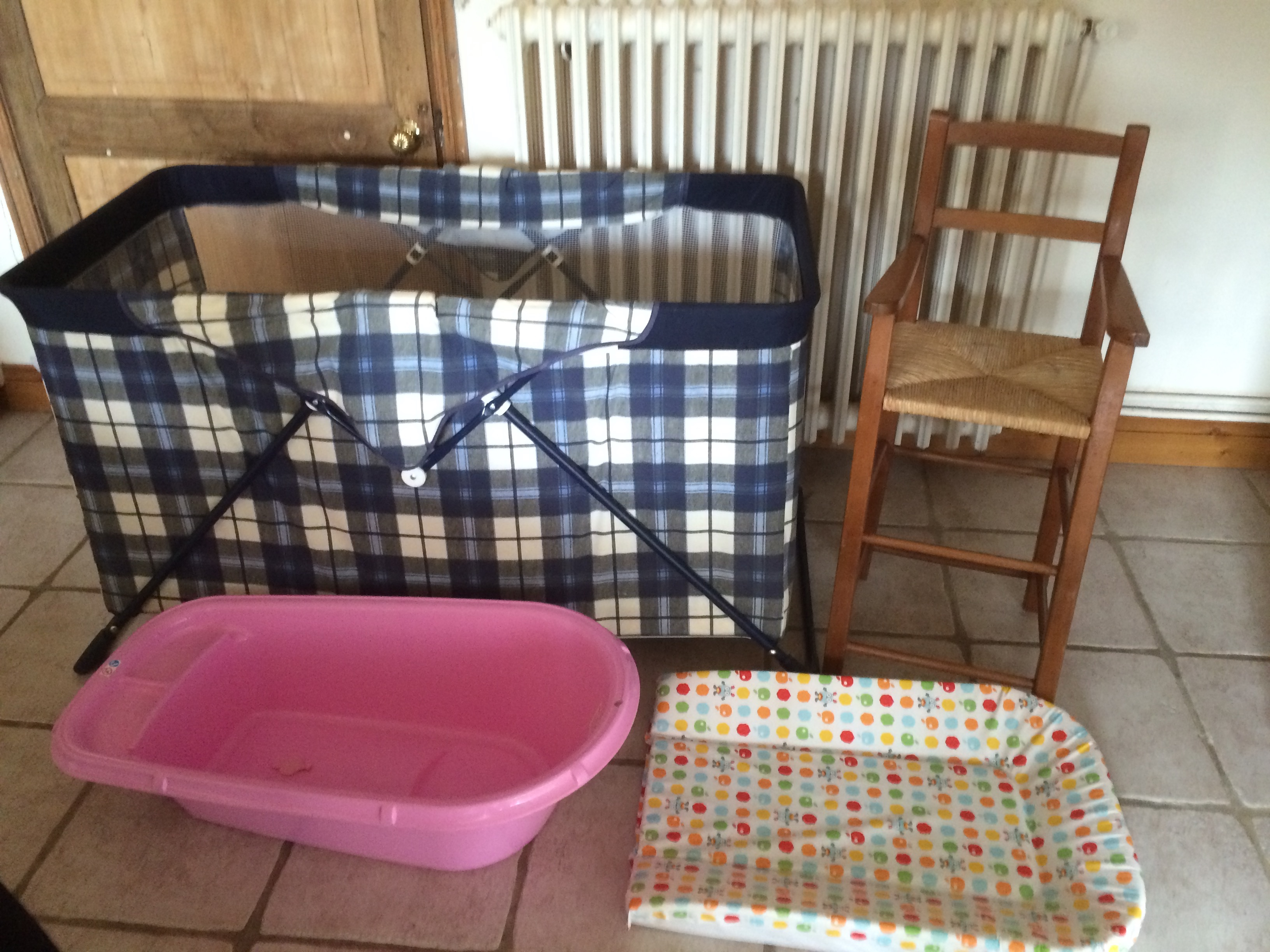 Travel cots, bath, mat and high chair