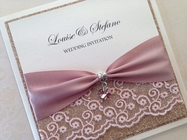 Pocket style  Wedding Invitations, Glitter, Rose Gold, Rustic, Diamante, Ribbon, Layered, Lace, Menu, Reply Pearlescent Card, ivory Pearl, Matt Card, Lace