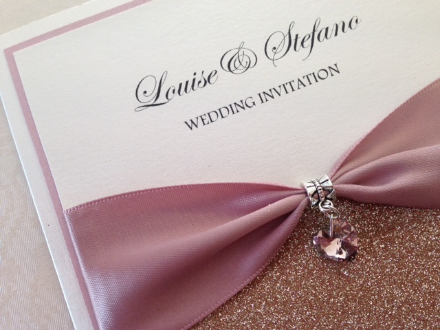 Pocket style  Wedding Invitations, Glitter, Rose Gold, Rustic, Diamante, Ribbon, Layered, Lace, Menu, Reply Pearlescent Card, ivory Pearl, Matt Card
