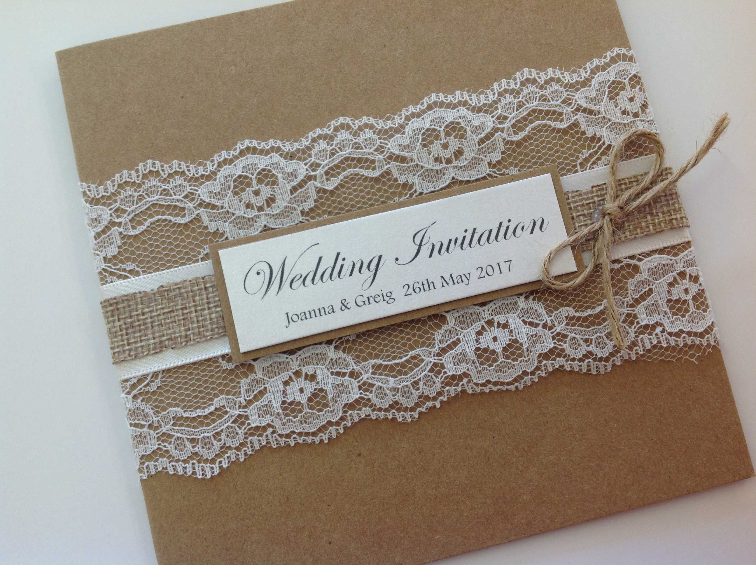 Kraft Card Invitations, Pocket style  Wedding Invitations, Glitter, Rose Gold, Rustic, Diamante, Ribbon, Layered, Lace, Menu, Reply Pearlescent Card, ivory Pearl, Matt Card