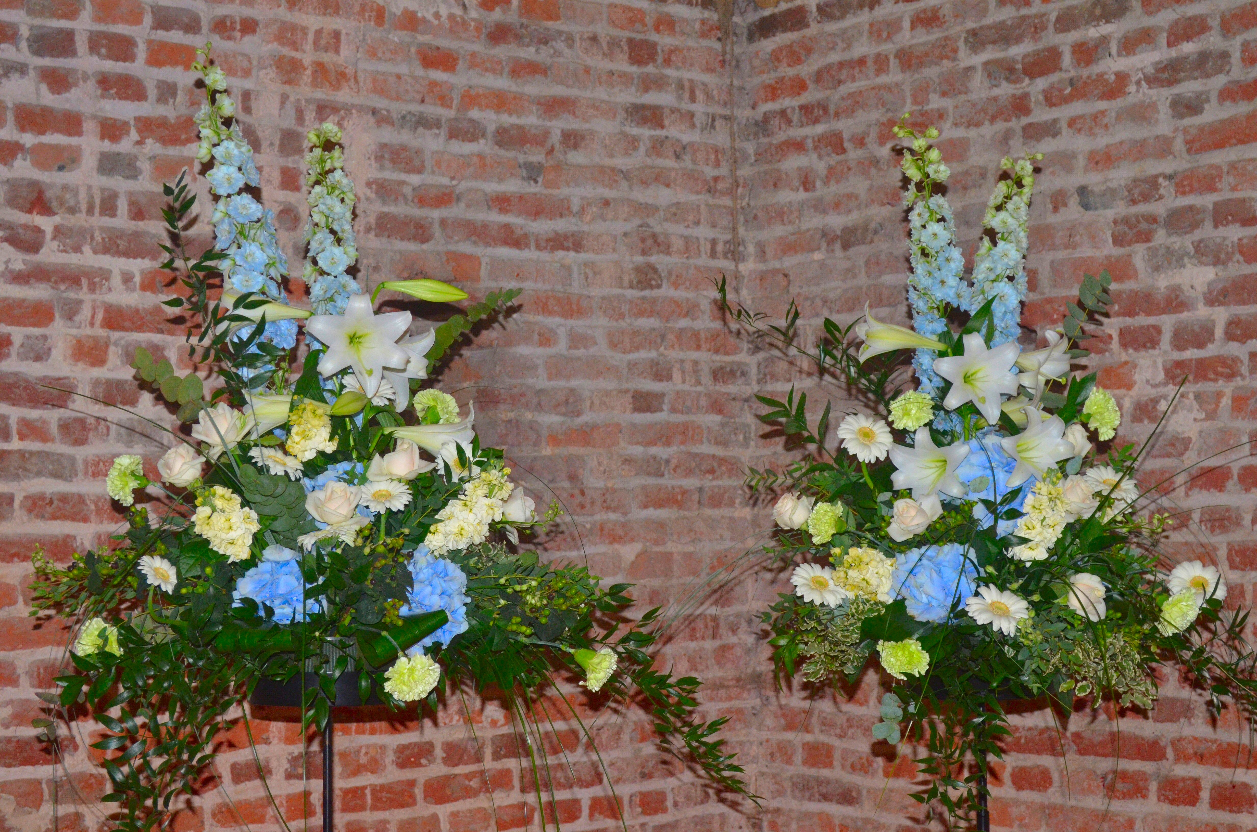 Blue and Cream Pedestals