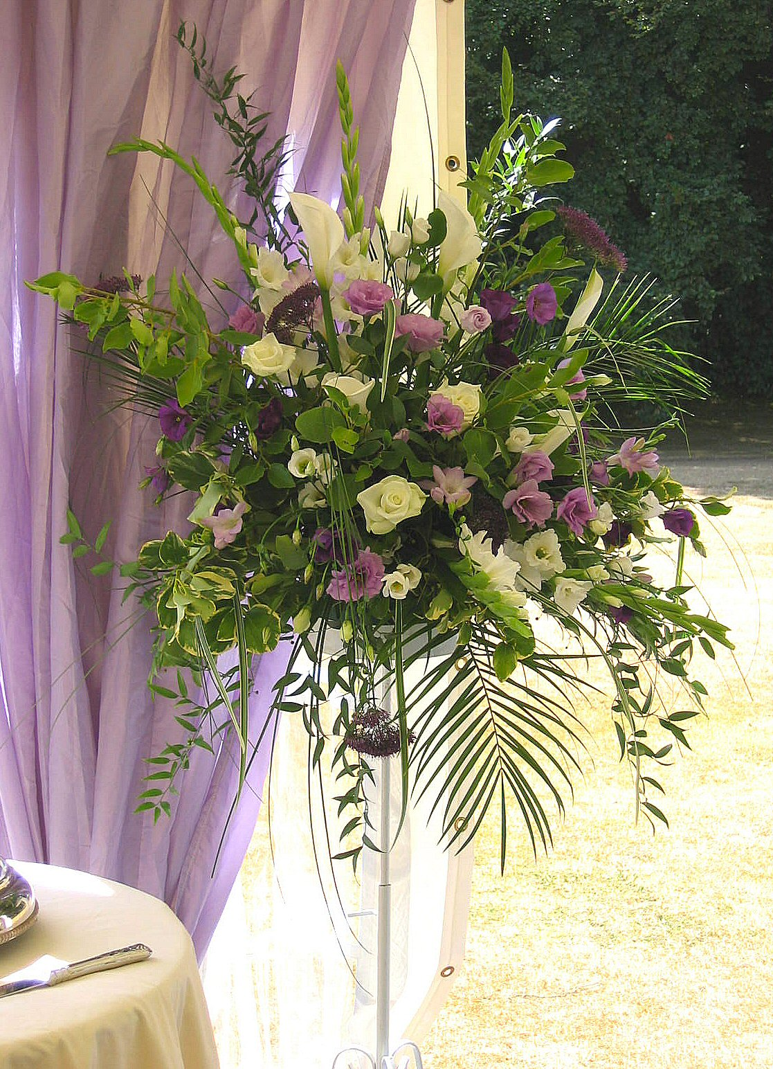 Lilac and White Pedestal