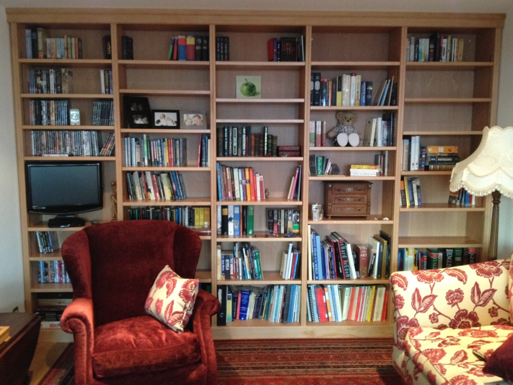 Beech fitted bookcase