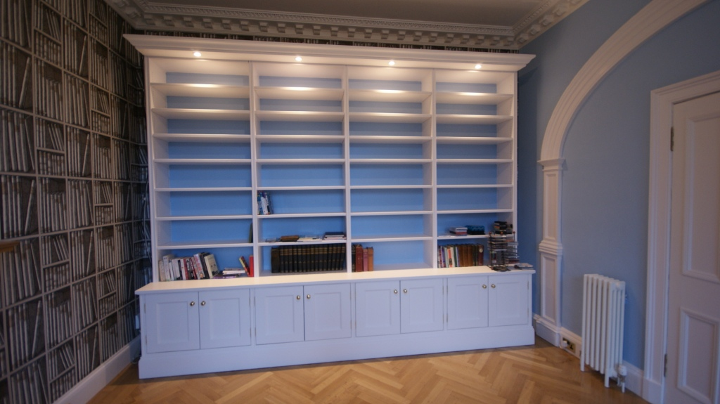 Bookcase with overhang lighting