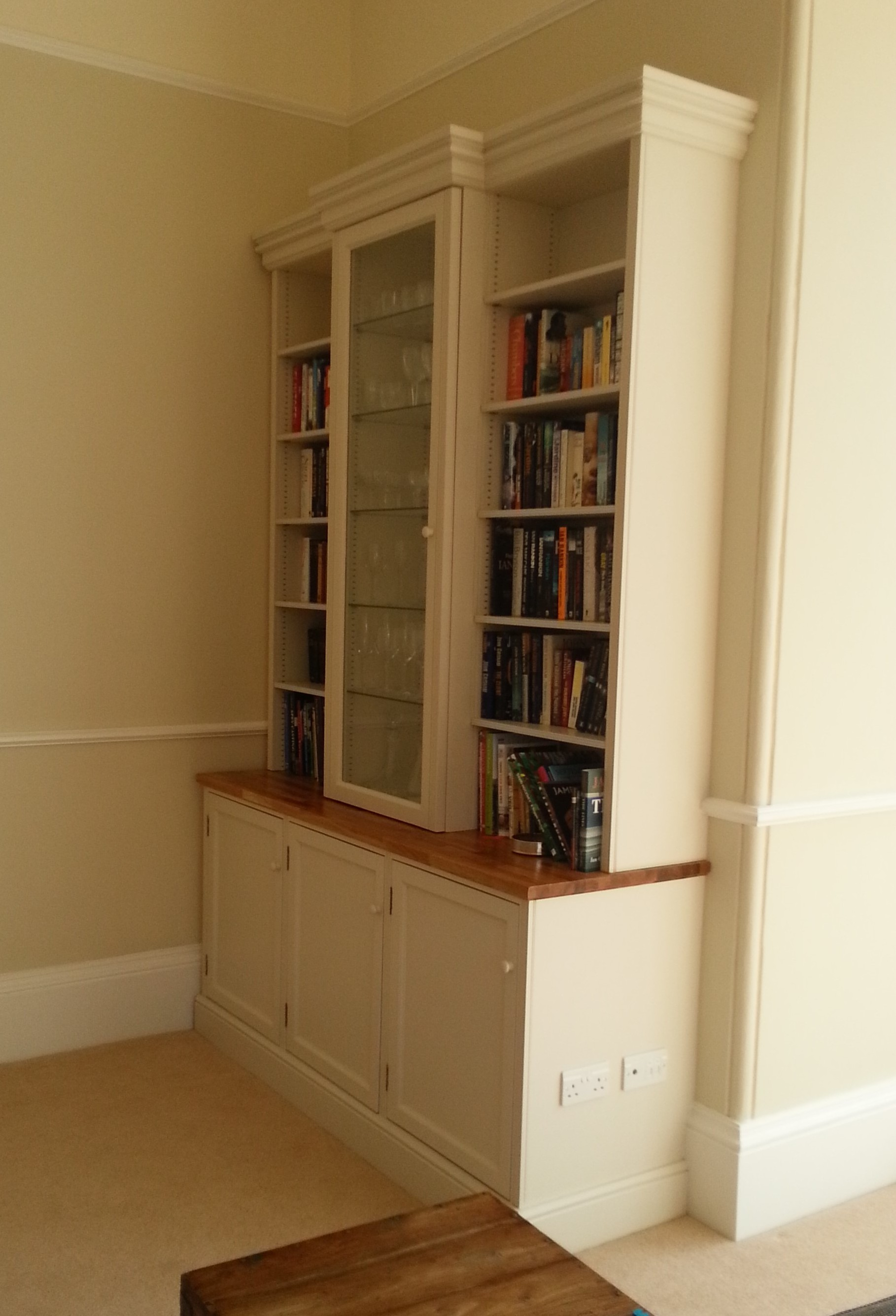 Bookcase with centre display cabinet