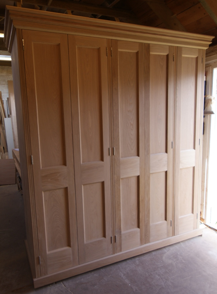 Oak wardrobe under construction at workshop