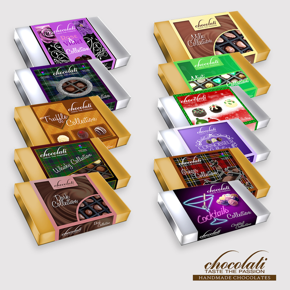 A design range I created for Chocolati Ltd in Ayr during my time as Senior Designer
