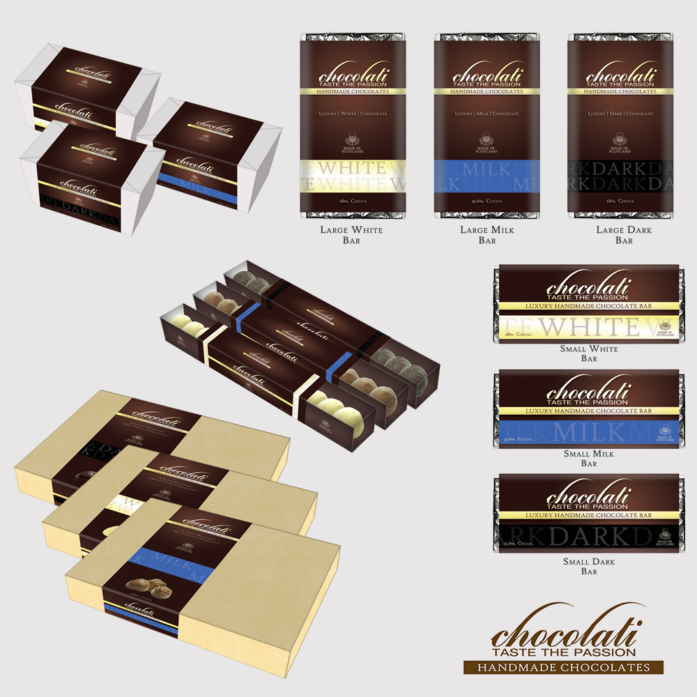 A branding range I created for Chocolati Ltd in Ayr during my time as Senior Designer