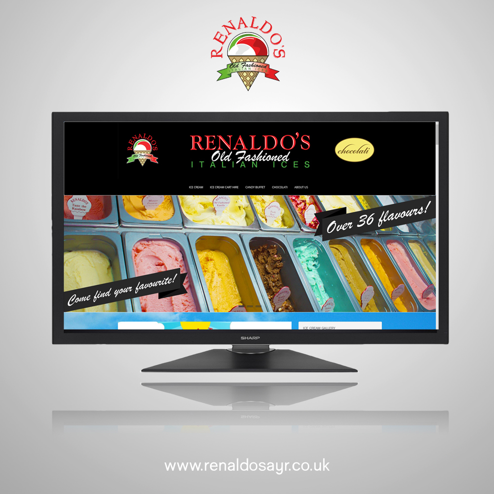 Website Design for Renaldo's Ice Cream Parlour in Ayr, Scotland