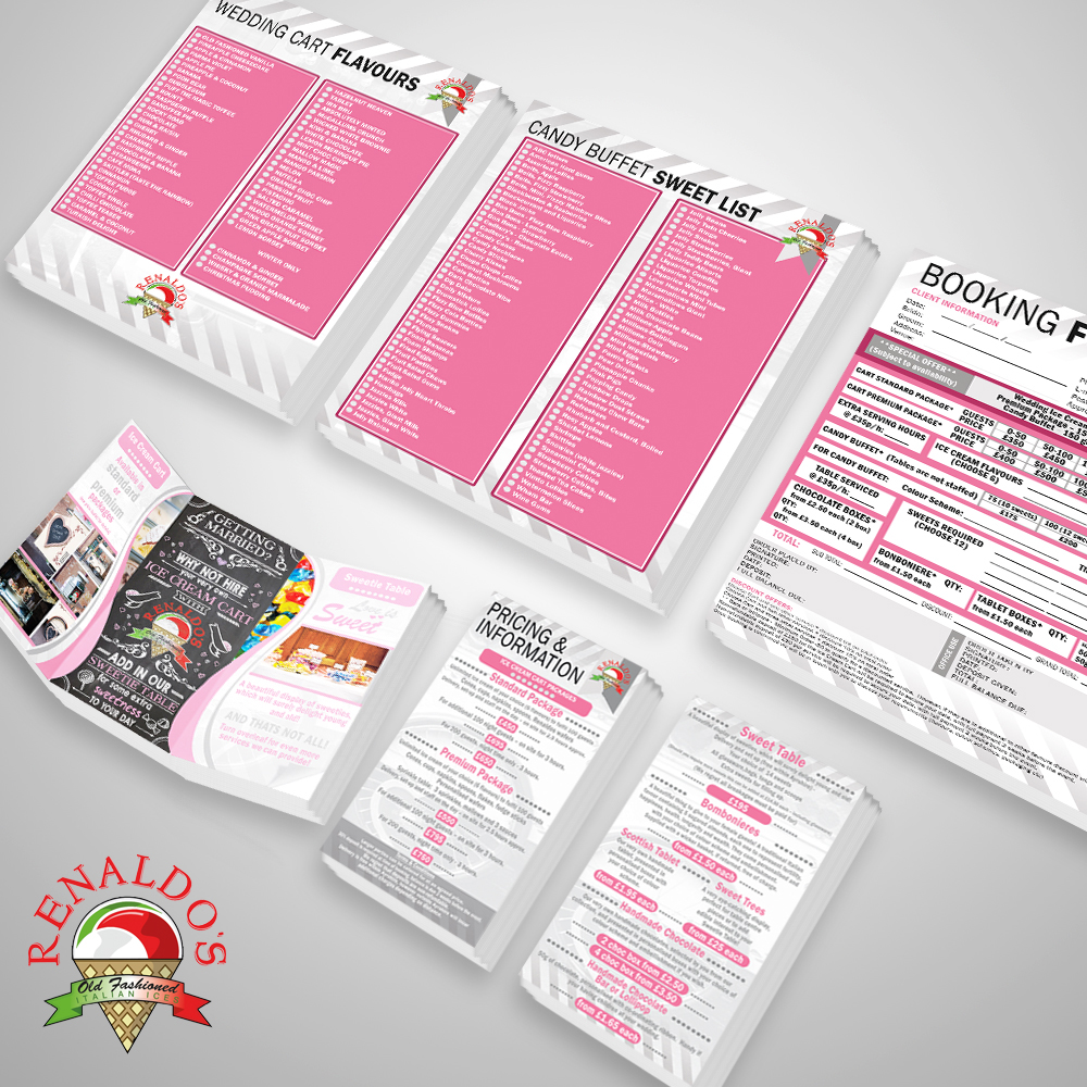 A wedding set of flyers,info packs and order forms for Renaldo's Ice Cream Parlour in Ayr,Scotland.