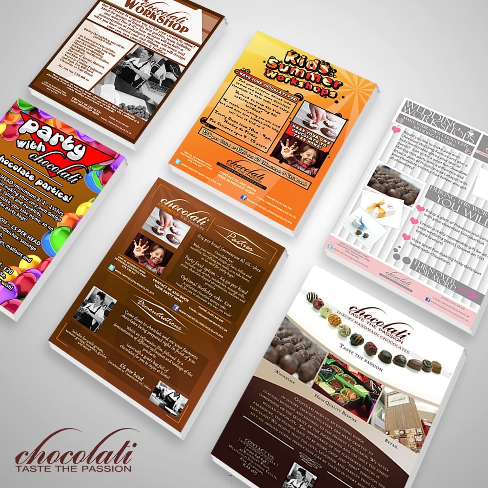 A set of flyers i created for Chocolati Ltd during my time as Senior Designer
