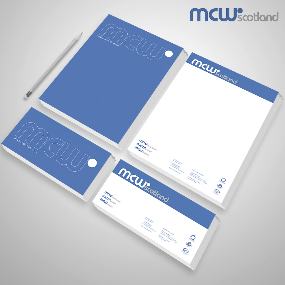 A stationary set designed for Ayr based company: MCW Scotland.