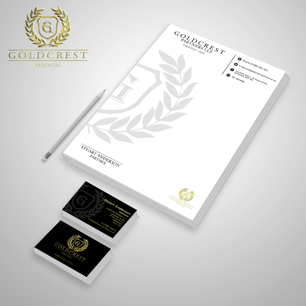 Stationary set design for Edinburgh based company: Goldcrest Partners.