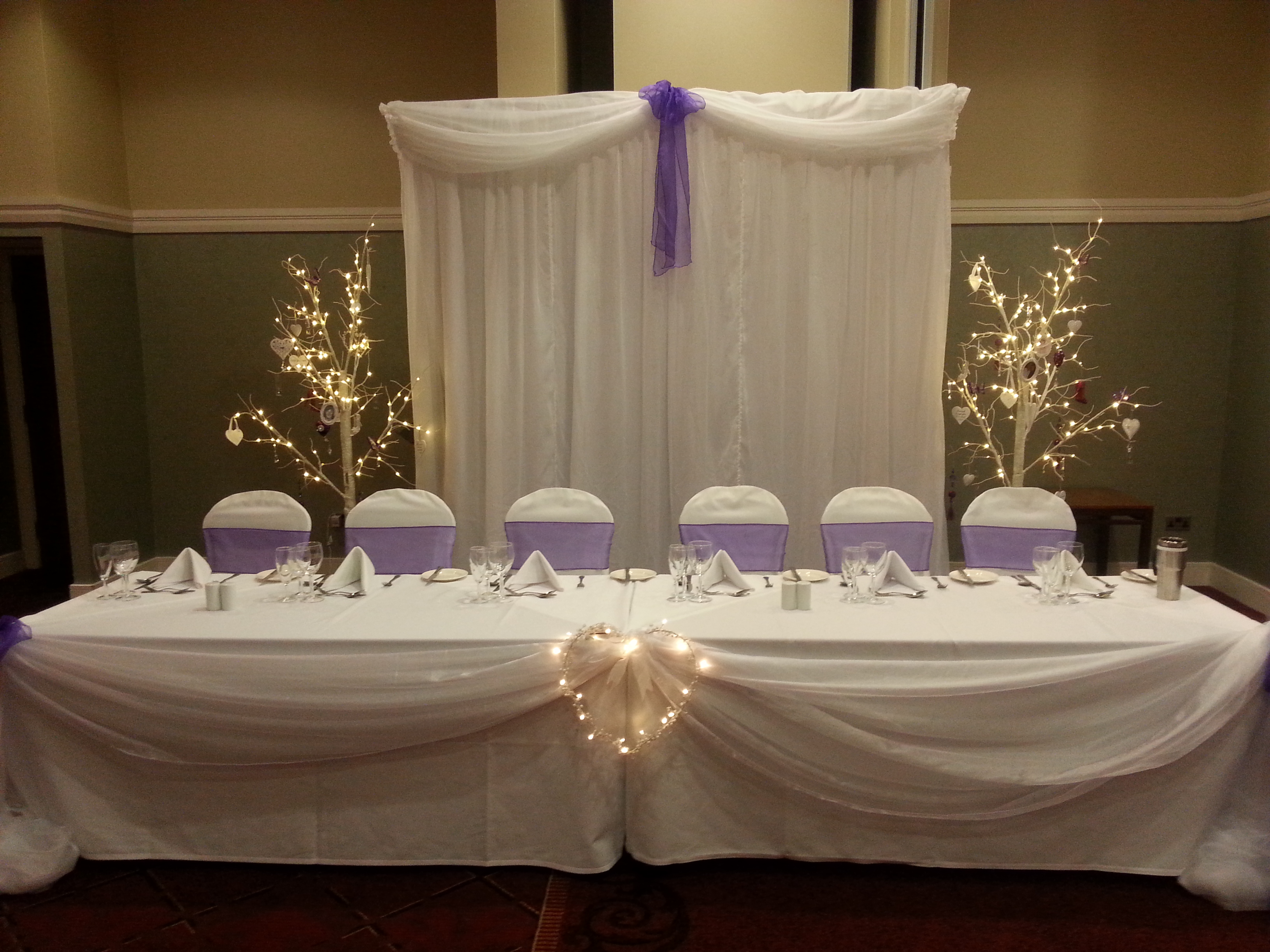 backdrop, fairy light backdrop, swags, top table, swags, head table