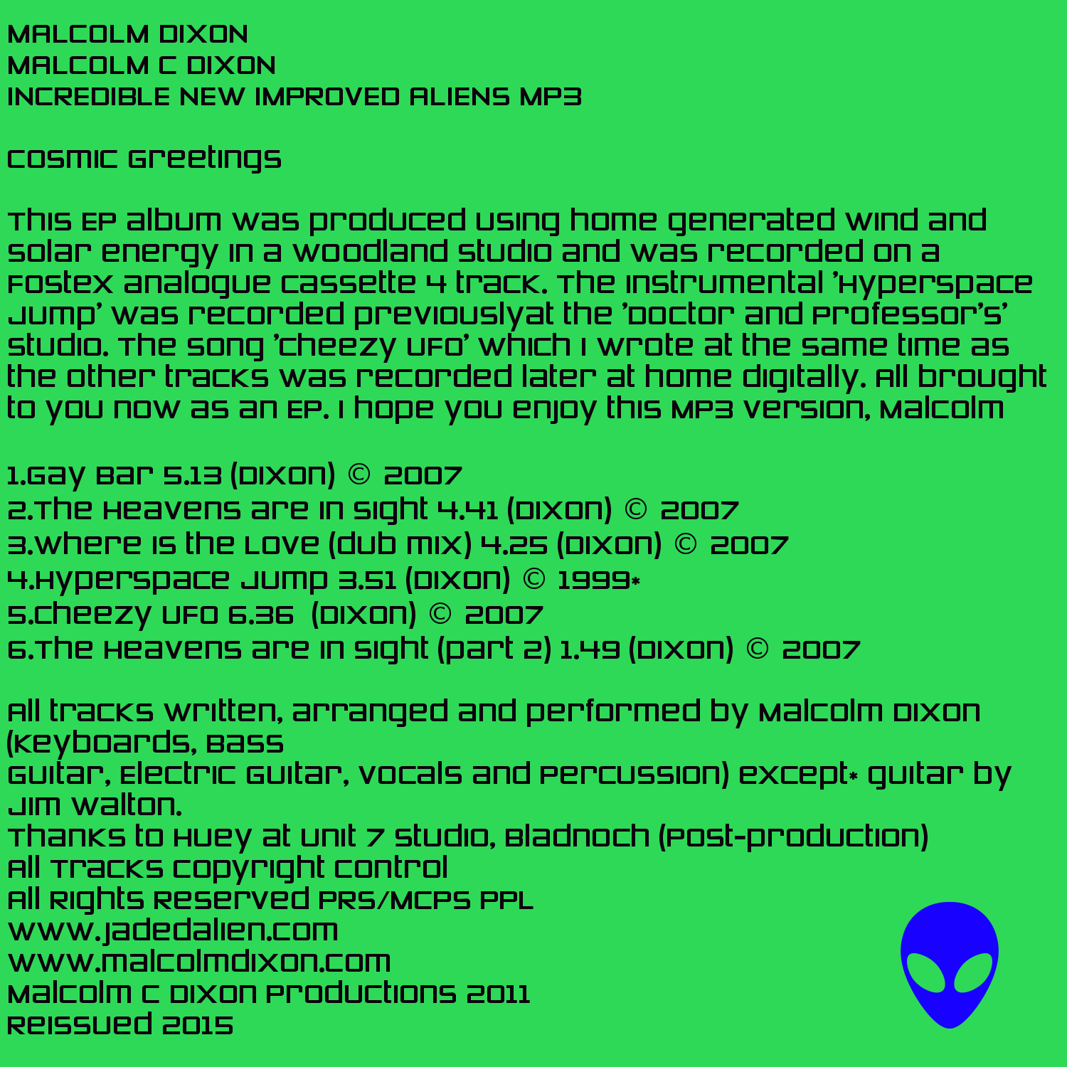 Malcolm Dixon Music; Album Information