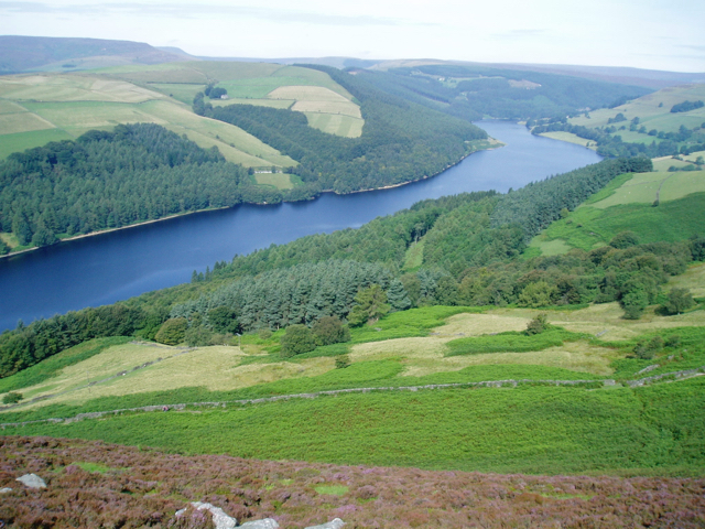 Ladybower reservoir viewed from Derwent Edge