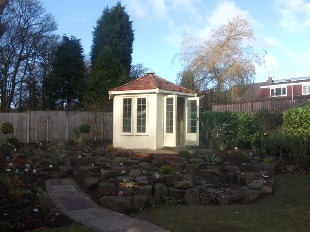 CREAM GAZEBO WITH CEDAR SHINGLES