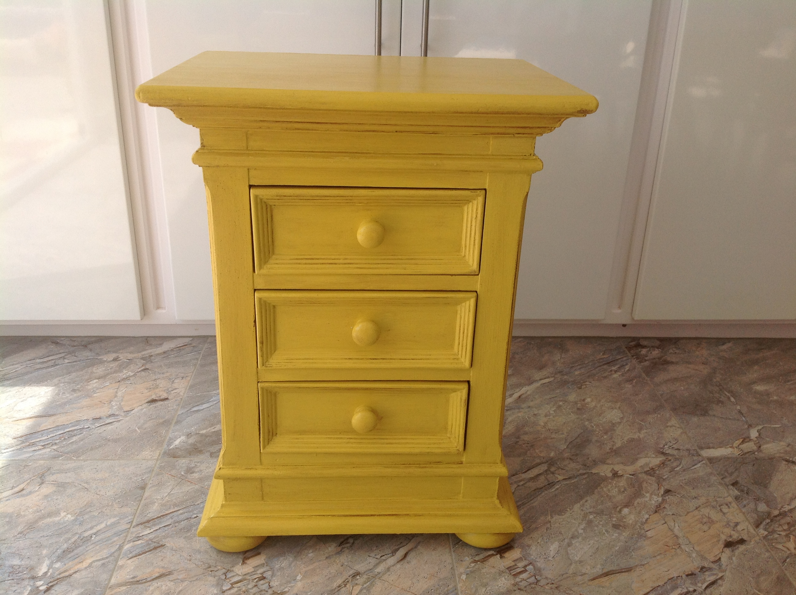 AFER - Bedside Unit Finished in Annie Sloans Paint - English Yellow
