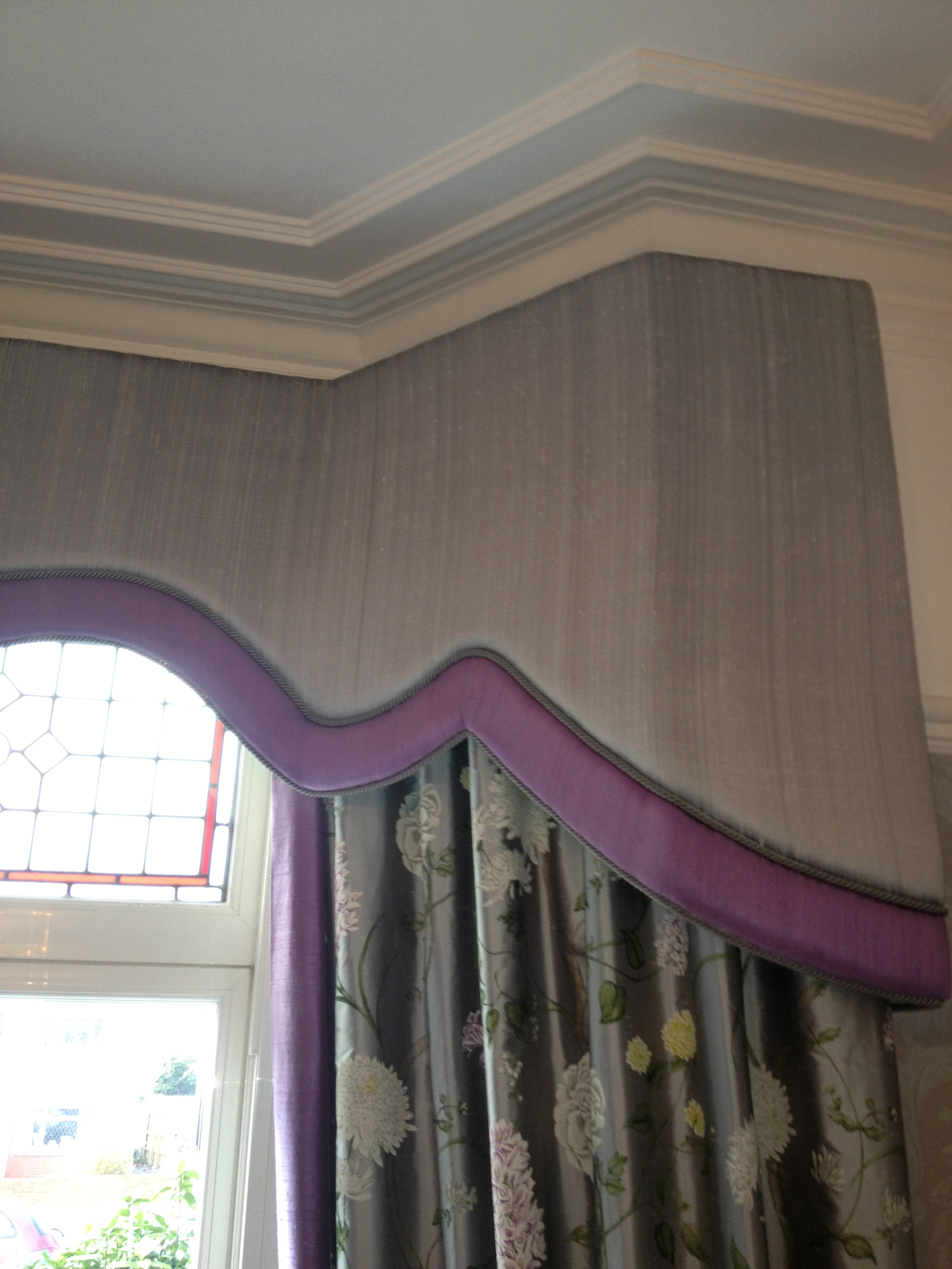 grey silk pelmet and curtains with mauve borders