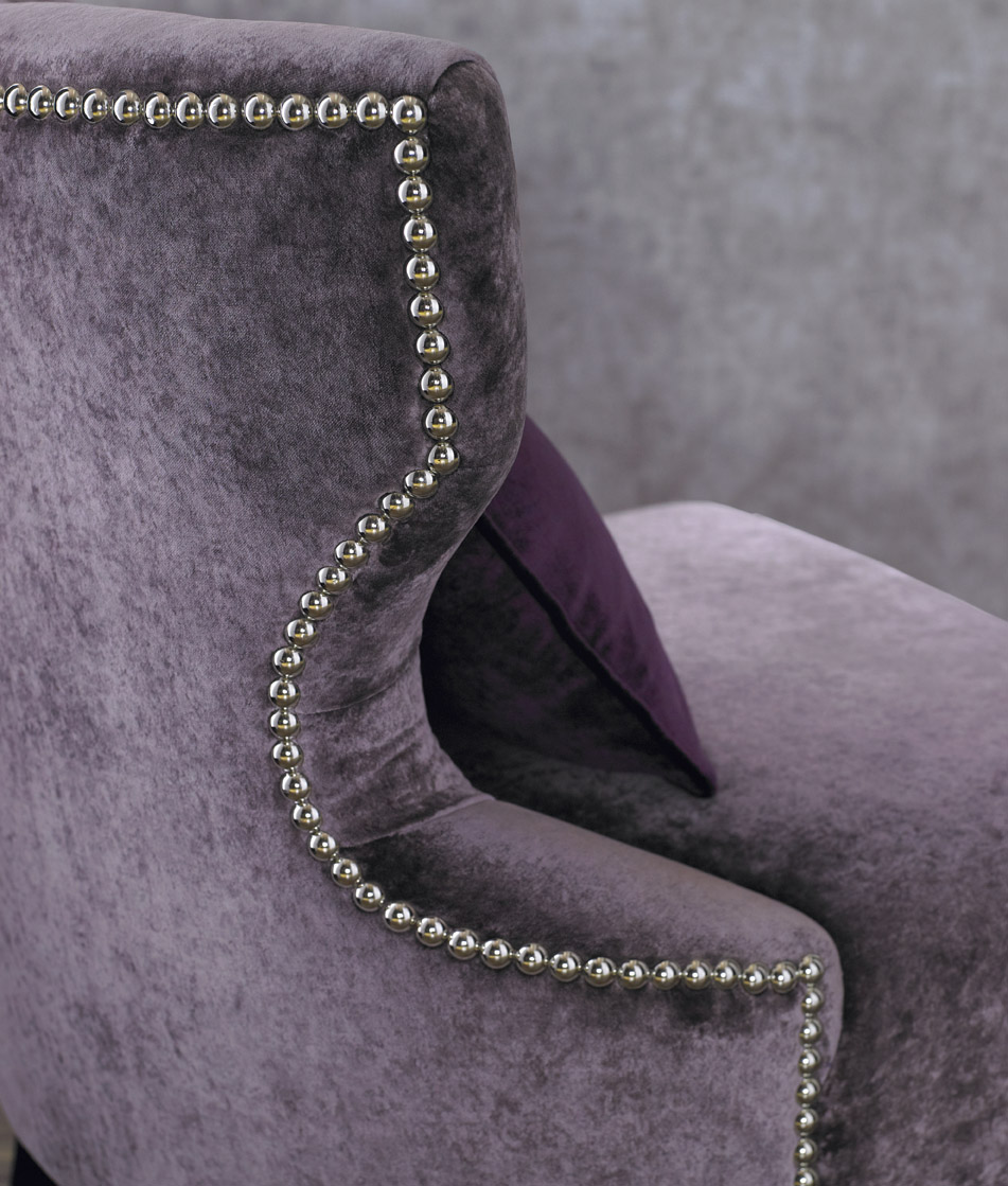 upholstered chair with stud decoration