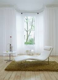 silent gliss bay window tracks with white wave curtains