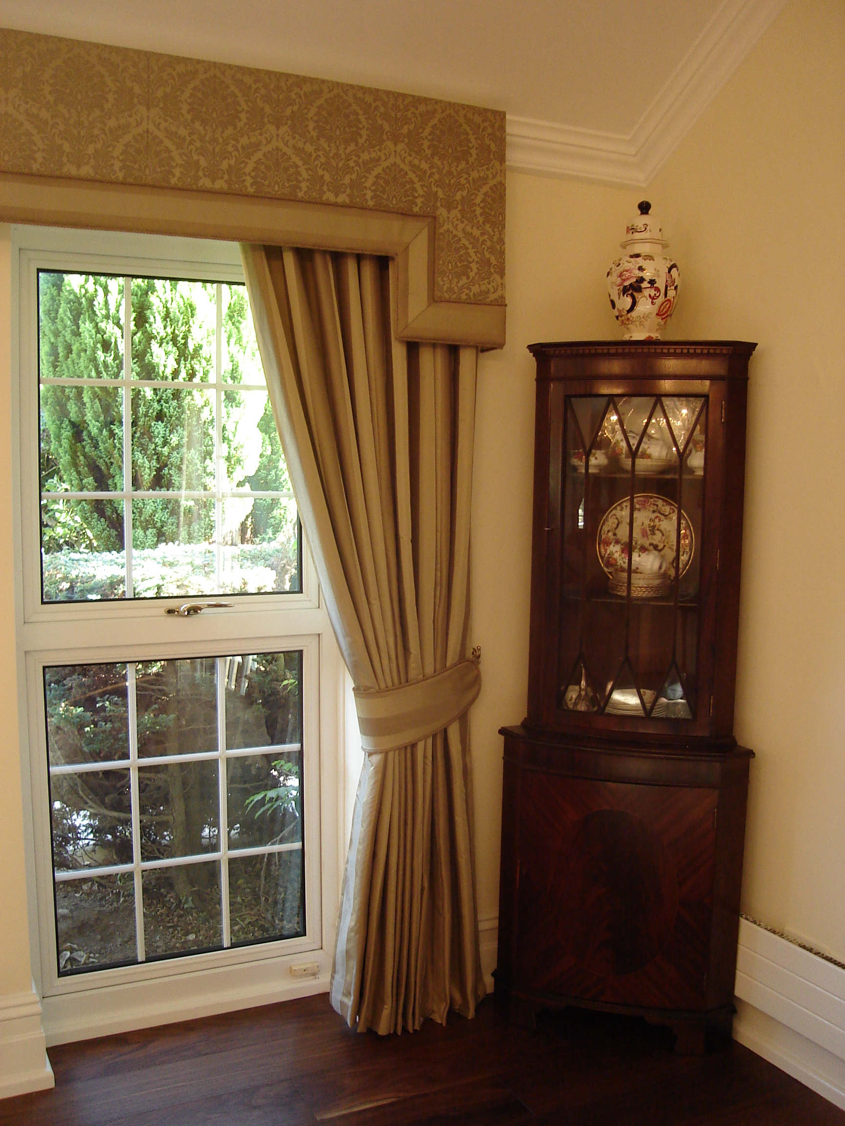 classic gold curtains and pelmets