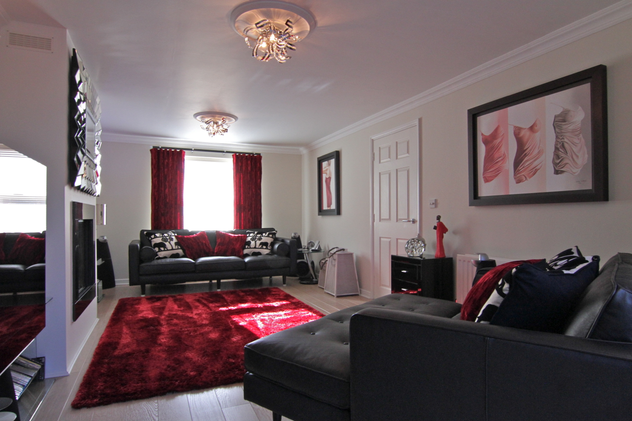 lounge with red accents