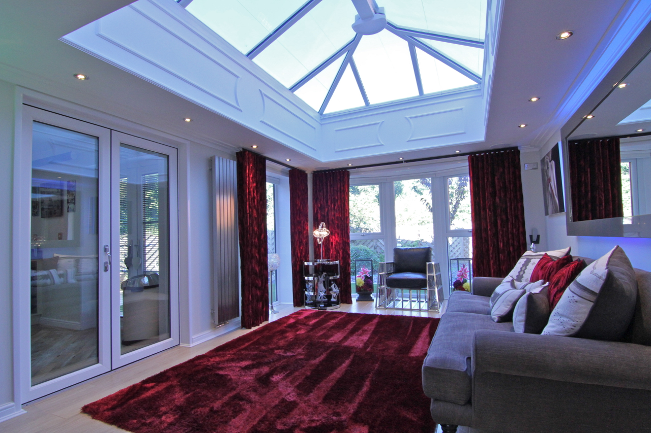 sitting room with red accents