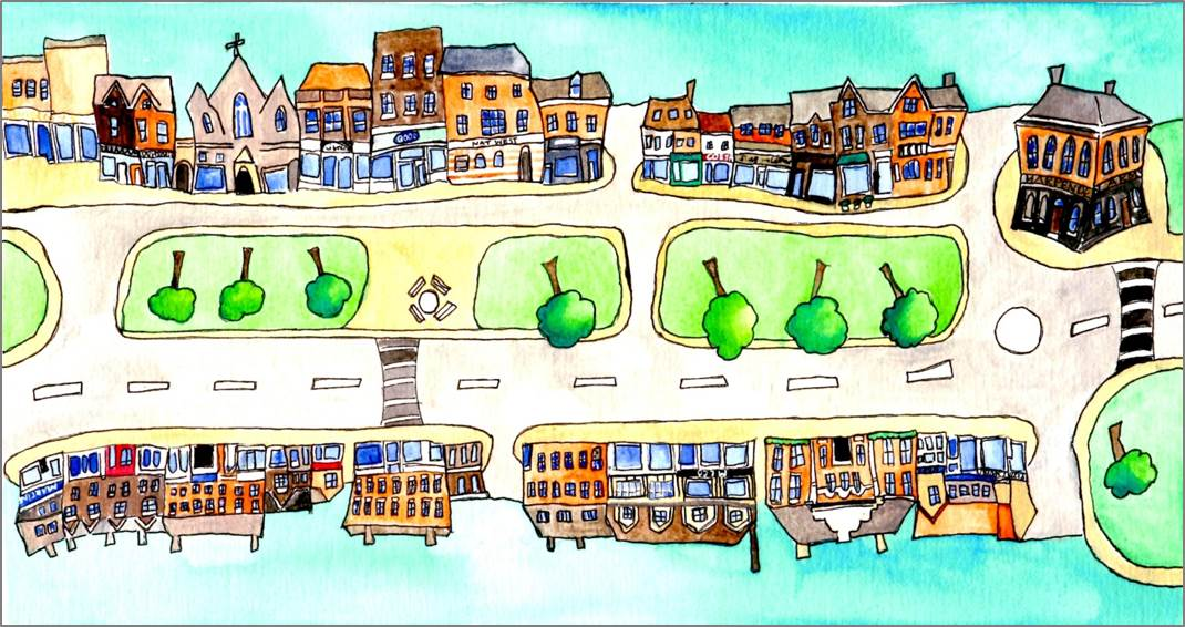 Harpenden Highsteet 1 print by Sarah Collins