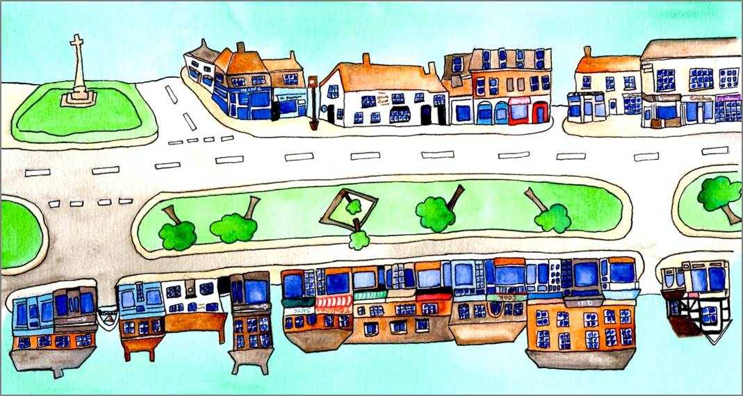 Harpenden Highstreet 2 print by Sarah Collins
