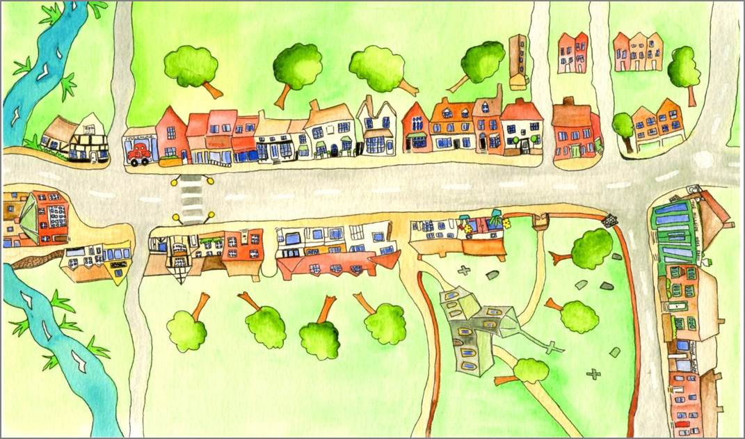 Wheathampstead print by Sarah Collins