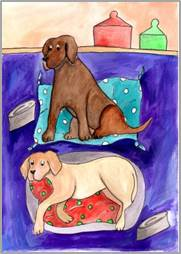 Chocolate & Yellow Labs print by Sarah Collins