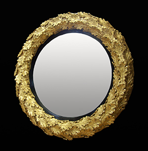 Oak leaf convex mirror. Made by Ruth Tappin