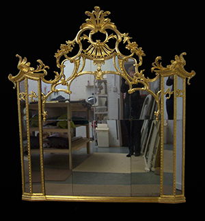Carved wood mirror restored by Ruth Tappin