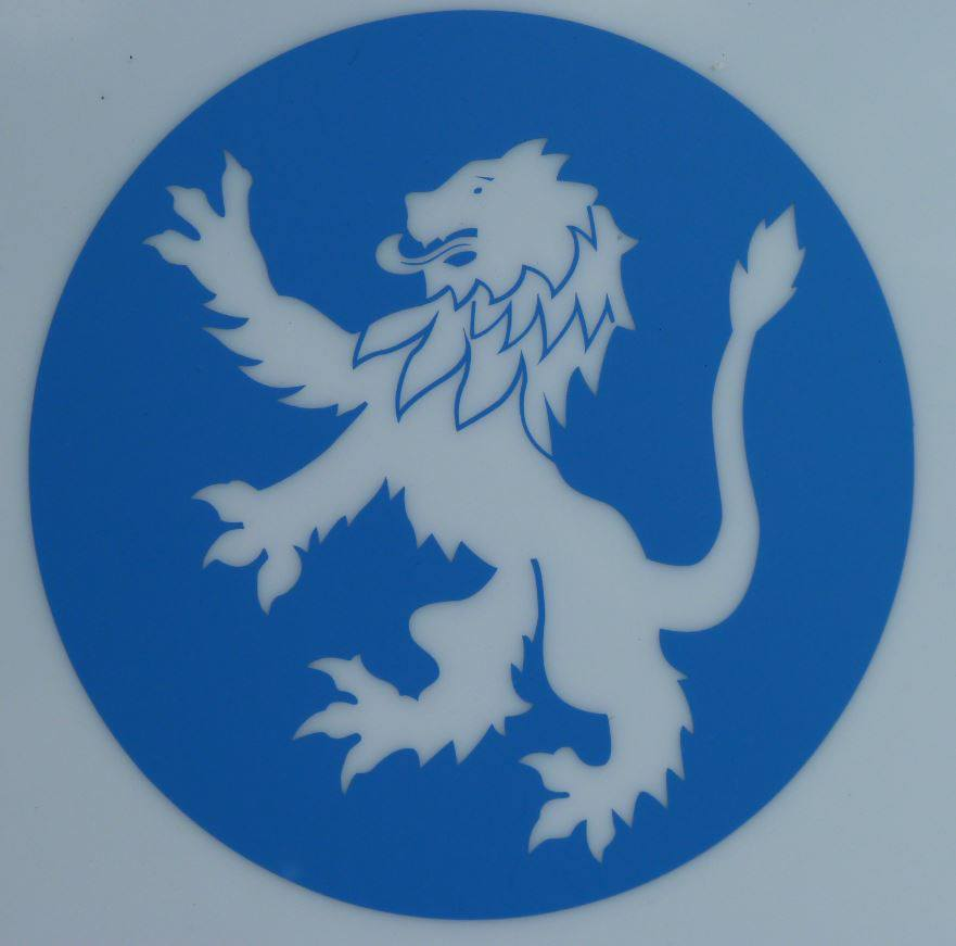 White lion with blue background logo - photo#2