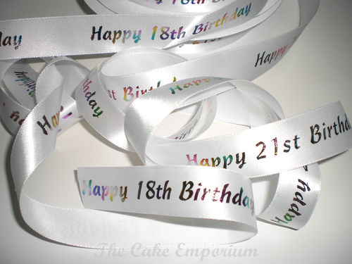 18TH or 21ST BIRTHDAY RIBBON CAKE TOPPER OR GIFT WRAP